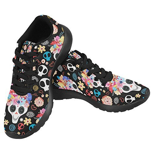 InterestPrint Women's Jogging Work Shoes Lightweight Sport Running Sneaker Flats - Skull Love