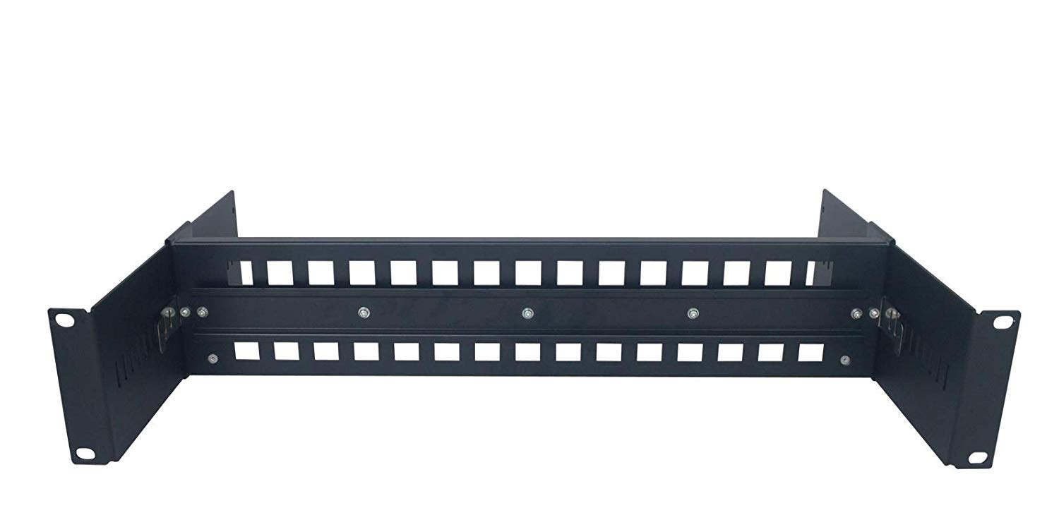 19 Inches Rackmount Adjustable DIN-Rail Bracket Used for Media Converter, Ethernet Switch, Industrial PoE Switch etc (Black).