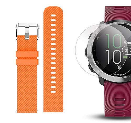 Garmin Forerunner 645 Music Bundle with Extra Band & HD Screen Protector Film (x4)   Running GPS Watch, Wrist HR, Music & Spotify, Garmin Pay (Cerise + Music, Orange) by PlayBetter (Image #6)