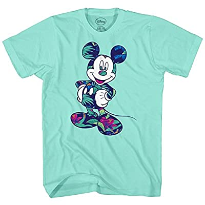 Disney Mickey Mouse Tropical Mint Green Adult Mens Graphic T-Shirt