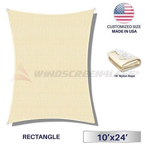 Windscreen4less 10' x 24' Rectangle Sun Shade Sail - Beige with White Strips Durable UV Shelter Canopy for Patio Outdoor Backyard - Custom Size