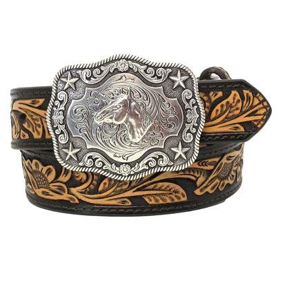 Nocona Boy's Rectangular Horse Head Buckle Belt, Brown, Tan, 24