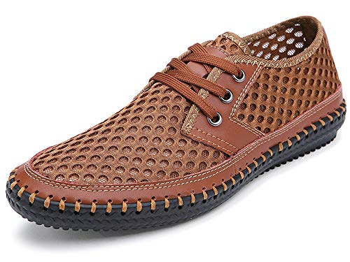 MOHEM Mens Womens Casual Mesh Water Shoes(WS3166L.Brown44) ()