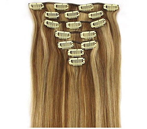 """Blonde and Brown Hair Extensions for Real Clip in Human Hair-protect Your Investment-best Lifetime Guarantee (15""""70g)"""