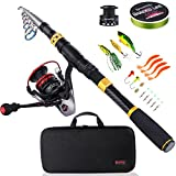 Sougayilang Fishing Rod Combos with Telescopic Fishing Pole Spinning Reels Fishing Carrier Bag for Travel Saltwater Freshwater Fishing(1.8M/5.91FT) Review