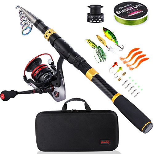 Sougayilang Fishing Rod Combos with Telescopic Fishing Pole Spinning Reels Fishing Carrier Bag for Travel Saltwater Freshwater Fishing(2.4M/7.87FT)