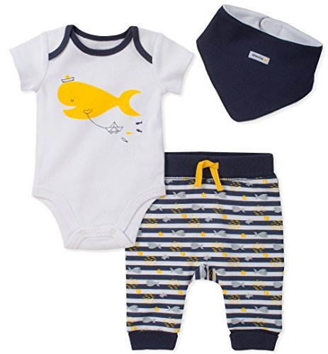 absorba Baby Creeper Pant Set with Bib Boys, Navy, 0-3 Months