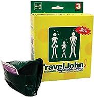 TravelJohn Disposable Resealable Urinal Bags, 3 Pack, 28OZ (800 Cc), Green