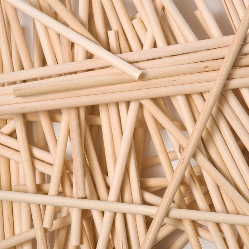 x500 (610mm x 9.5mm) Round Wooden Lollipop Sticks Flag Poles Bulk by Loypack