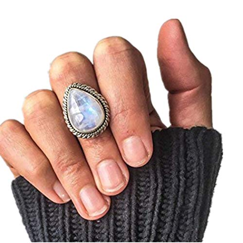 Daoroka Romantic Gifts Rings for Her, Vintage Moonstone Rings for Women Girls Antique Tibetan Silver Water Drop Healing Crystal Ring Boho Indian Jewelry Birthday Gifts (8, (Sterling Silver Cat Oval Bracelets)