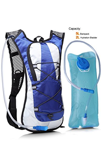 Hydration Backpack with 2L Water Rucksack Bladder Bag for Running Hiking Cycling (blue)
