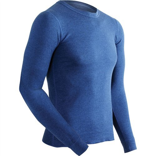 ColdPruf Men's Authentic Dual Layer Long Sleeve Wool Plus Crew Neck Base Layer Top, Navy, Medium