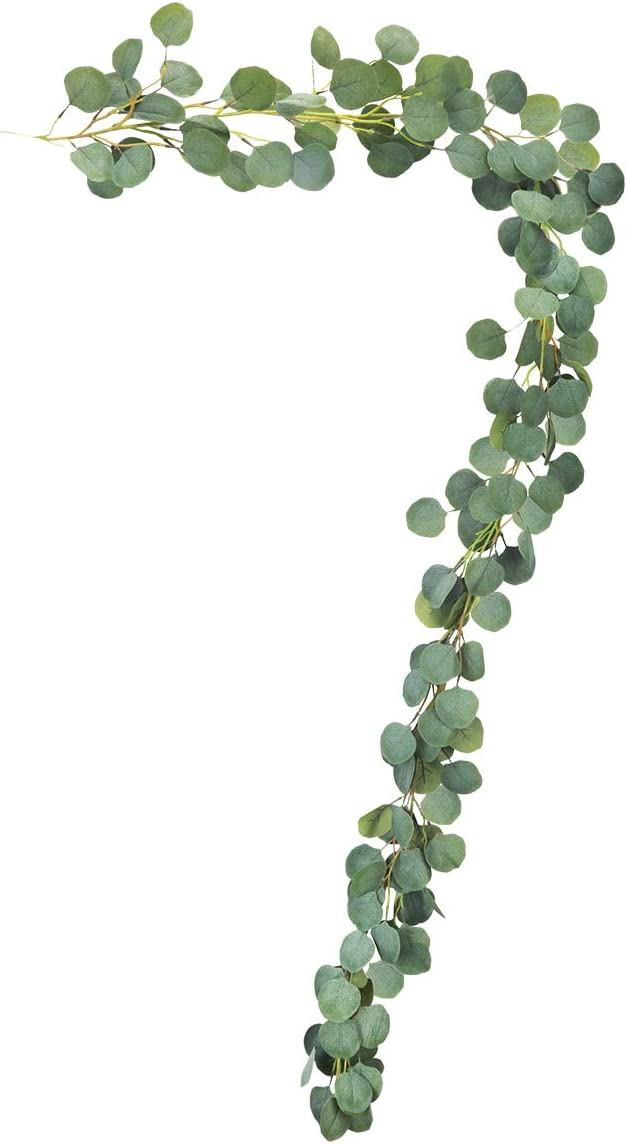 HANTAJANSS Artificial Eucalyptus Garland with Greenery Flower 148 Pcs Leaves Ribbon Hanging Vines Faux Foliage for Wedding Backdrop Table Arch Wall Décor 6 1/2FT