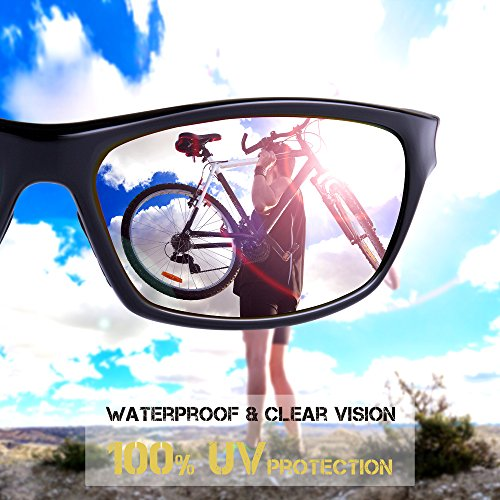 RIVBOS Polarized Sports Sunglasses Driving Sun Glasses for Men Women Tr 90 Unbreakable Frame for Cycling Baseball Running Rb831 (Black&Red Mirror Lens)