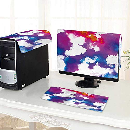Auraisehome Computer dust Cover Vibrant Colored Stains with Digital Effects in Watercolors Illustration Multicolor dust Cover 3 Pieces Set /17