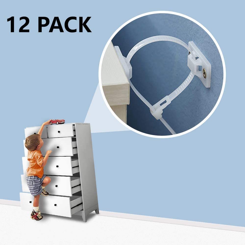 Furniture Straps Wall Anchors (12 Pack), Furniture Anchors for Baby Proofing, Anti Tip Furniture Kit Wall Straps Safety, Child Proof Earthquake Resistant Nylon Straps for Dresser Cabinet Bookshelf