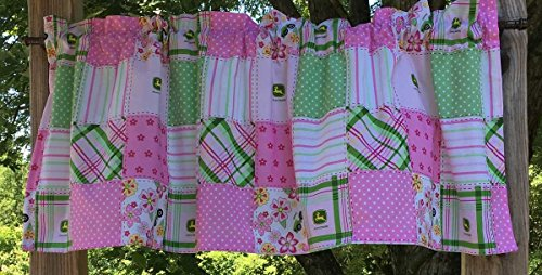 (John Deere Madras Pink Green Floral Stripe Dot Plaid Patch Girls Nursery Handcrafted Cotton Curtain Valance)