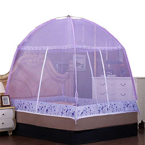 RuiHome 3-Doors Bed Mosquito Net Tent with Floor Portable Bedding Canopy Insect Netting for Home Travel (Purple) from RuiHome