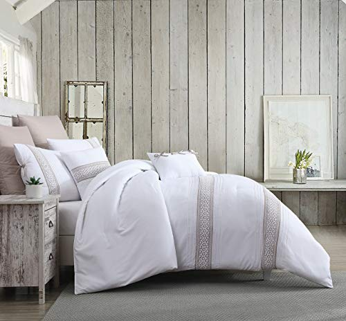 KingLinen 11 Piece Dorothy Beige/White Bed in a Bag Set Queen ()