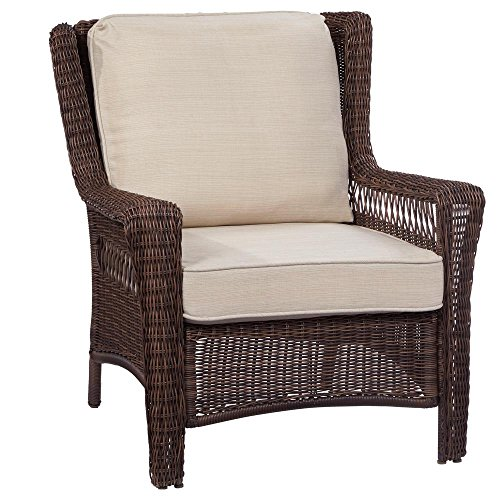 Hampton Bay Park Meadows Brown Stationary Wicker Outdoor Lounge Chair with Beige Cushion