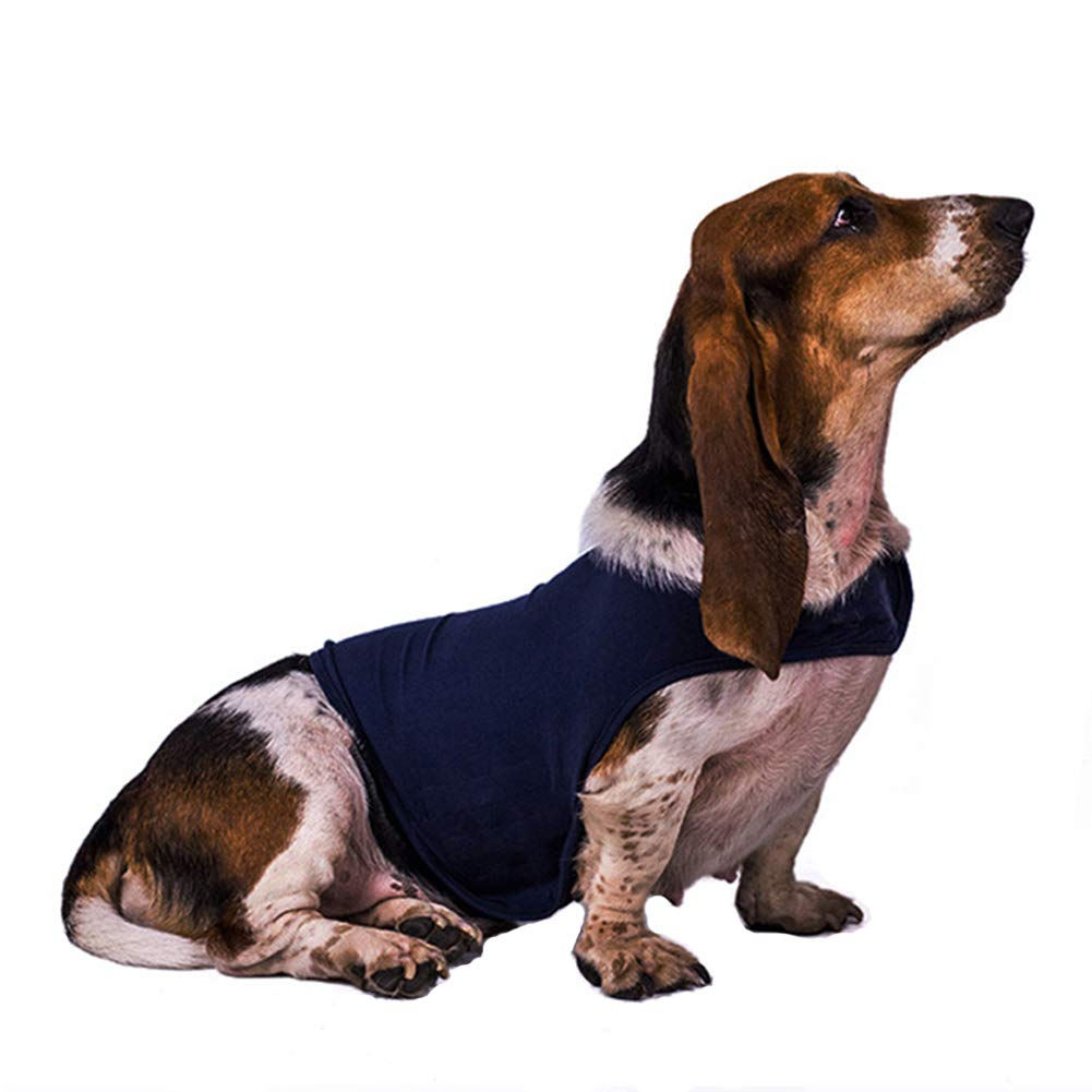 Lvozize Dog Anti Anxiety Jacket Vest, Keep Calm Clothes,Premium Fabric Thunder Soft Shirts, Pets Stress Relief Fireworks Thunder Separation Travel Calming Coat M (Dark Blue)