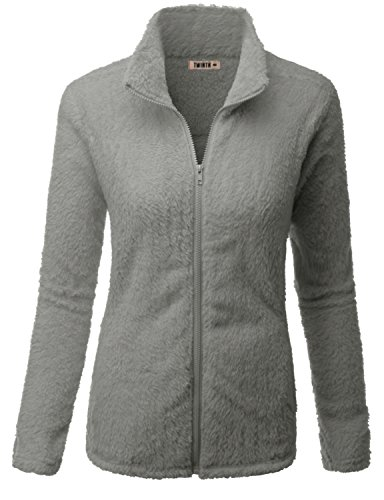 Doublju Womens Soft Fabric Thermal 3/4 Sleeve Big Size Fleece Outwear GRAY,2XL (Arcteryx Covert Hoody Jacket)