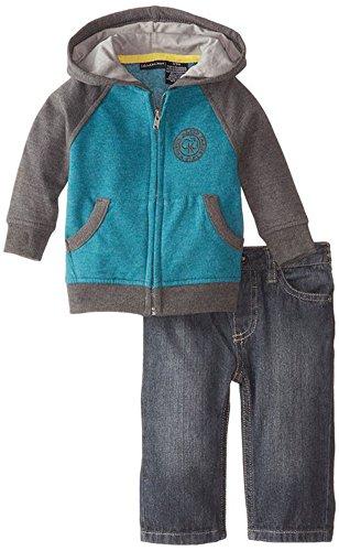 Calvin Klein Baby-Boys Newborn Fleece Zip Hoodie with Jeans, Gray, 6-9 Months