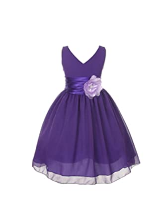 factory outlets more photos sale uk My Best Kids Yoru Chiffon Flower Girl Dress-Purple-10