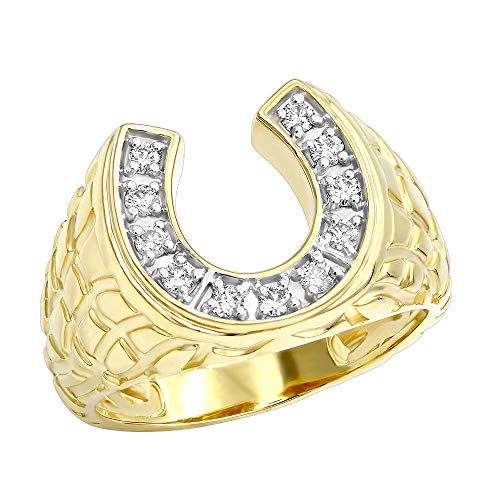 Good Luck Men's 14k Gold Nugget Horseshoe Diamond Ring 0.3ctw G-H color (Yellow Gold, Size 12)