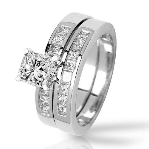 (2.85 Carat Platinum Classic Channel Set Princess Cut Diamond Engagement Ring and Wedding Band Set with a 2 Carat Moissanite Center )