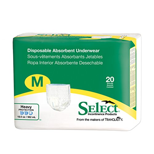 Select Pull-On Disposable Underwear Size Medium Case/80 (4 bags of 20)