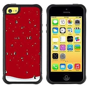 Suave TPU Caso Carcasa de Caucho Funda para Apple Iphone 5C / Winter Christmas Penguin Snow / STRONG