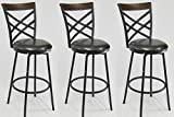 eHemco 24/29'' Swivel Metal Barstool with Double X Back Faux Leather Seat in Espresso Set of 3