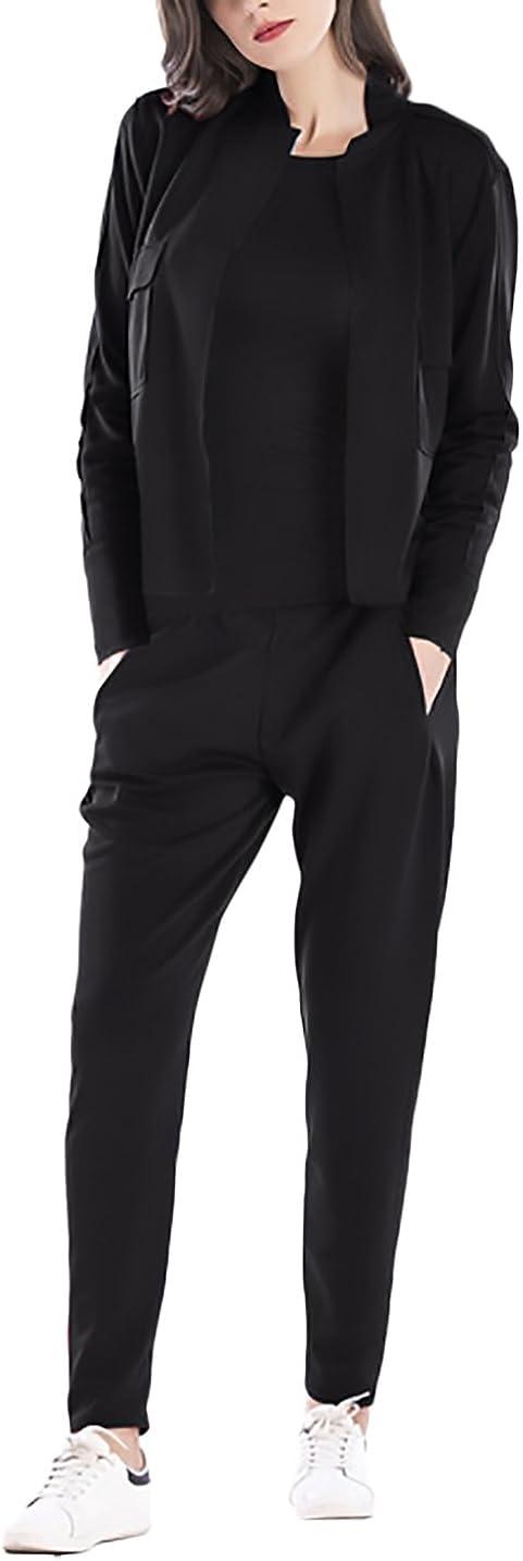Donna Giacca und Pantaloni 2 Pezzi Tuta Manica Lunga Slim Fit Elegante Vintage Fashion Casual Autunno Inverno Sportivo Set Giacche Blazer Bolero Outwear Pantalone Trousers