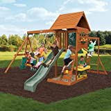Multi-Level Design Sandy Cove Wooden Swing Set, Wooden Shiplap Roof, Vinyl Chalkwall, Sand and Water Table, Monkey Bar, Climbing Ladder, Multi-Colored Rocks, 2 Belt Swings, Multicolor
