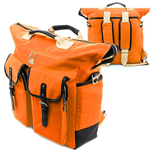 Deluxe Vertical Leather Case (Lencca Mini Phlox Backpack ORANGE Carry on Bag fits SApple MacBook 12
