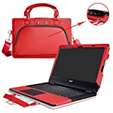 """Aspire R 14 Case,2 in 1 Accurately Designed Protective PU Leather Cover + Portable Carrying Bag For 14"""" Acer Aspire R 14 2 in 1 R5-471T series Laptop(Not fit R3-471T/R3-431T series),Red"""