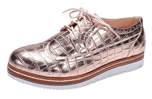 Wingtip Gold Women's Lace Breeze Nature Shoe Embossed Oxford up Rose Croc Flatform qCETnx