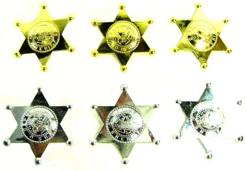 Deputy Sheriff Badge (6) Plastic Party Favors Halloween Costume Accessory Badges (Costume Role Playset)