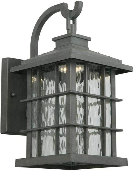 Home Decorators Collection Summit Ridge Collection Zinc Outdoor Integrated LED Dusk-to-Dawn Medium Wall Lantern