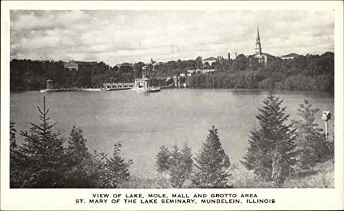 View of Lake Moll, Mall and Grotto Area Mundelein, Illinois Original Vintage - Mall Lakes
