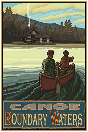 Canoe Boundary Waters Lake Canoers Hills Travel Art Print Poster by Paul A. Lanquist (24
