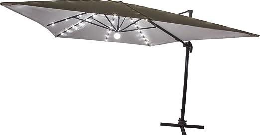 Sombrilla colgante luces LED toalla Crudo 3 X 4 metros palo lateral excéntrico de aluminio gris