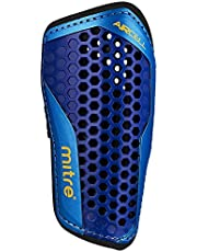 Save on Mitre Aircell Carbon Slip Football Shin Pads, Blue/Cyan/Yellow, Small and more