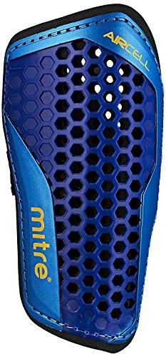 Mitre Aircell Carbon Slip Football Shin Pads - Blue/Cyan/Yellow, Medium