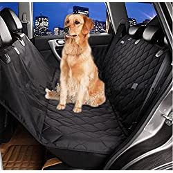 Pet Seat Cover for Cars-black, WaterProof & Hammock Convertible (black)