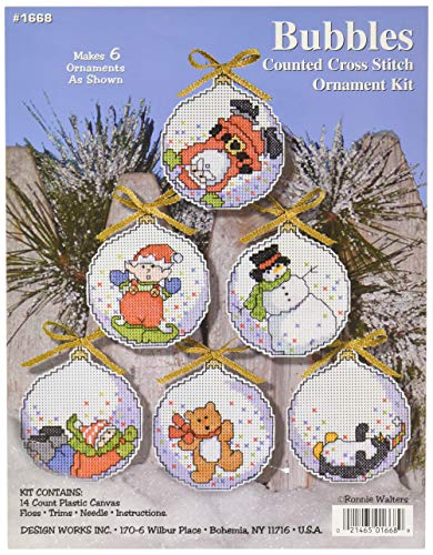 Bubbles Counted Cross Stitch - Design Works Crafts Christmas Bubbles Cross Stitch Ornament Kit, 4