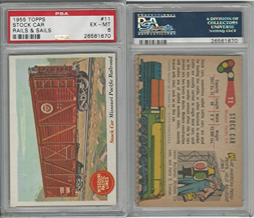 Pacific Railroad Stock (1955 Topps, Rails & Sails, #11 Stock Car, Missouri Pacific Railroad, PSA 6 EXMT)