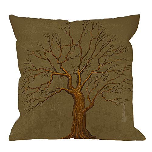 - HGOD DESIGNS Tree Throw Pillow Cushion Cover,Tree of Life and Owl Cotton Linen Polyester Decorative Home Decor Sofa Couch Desk Chair Bedroom 18x18inch Square Throw Pillow Case,Brown
