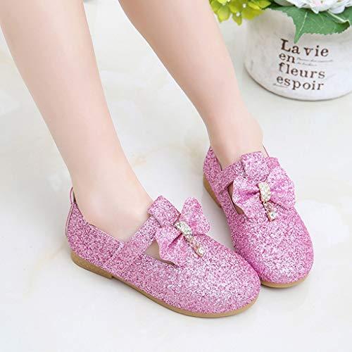 Mysky Kids Baby Girls Sweet Crystal Pendant Bowknot Sequins Party Princess Shoes Pink by Mysky (Image #1)